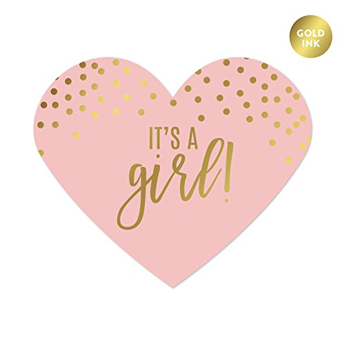 - Andaz Press Blush Pink and Metallic Gold Confetti Polka Dots Baby Shower Party Collection, Heart Label Stickers, It's a Girl!, 75-Pack