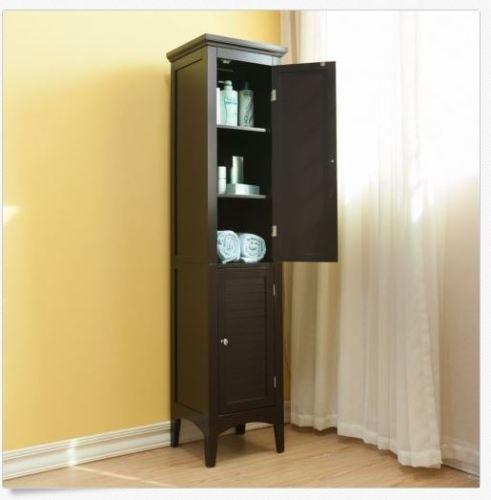 Moon Daughter Tall Linen Tower Cabinet Organizer Storage Shelves Doors Bathroom Salon Wood NEW