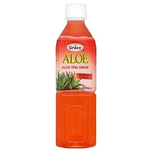 - Grace Aloe Vera & Strawberry Juice Drink - 500ml - Single Bottle (500ml x 1 Bottle)