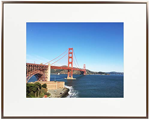 Frametory, 16x20 Metal Picture Frame Collection, Aluminum Photo Frame with Ivory Color Mat for Picture & Real Glass (Dark Brown) ()
