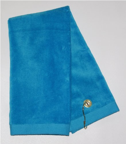 Aqua Tri-Fold Golf, Hand Towel with Grommet & (Cotton Sheared Terry Towel)