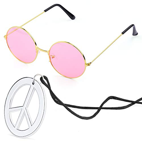Beelittle Hippie Costume Accessories for Men and Women - Retro John Lennon Hippie 60's Style Circle Glasses Peace Sign Necklace (Pink) -