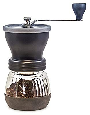 Khaw-Fee HG1B Manual Coffee Grinder with Conical Ceramic Burr - Because Hand Ground Coffee Beans Taste Best, Infinitely Adjustable Grind, Glass Jar, Stainless Steel Built To Last, Quiet, Portable