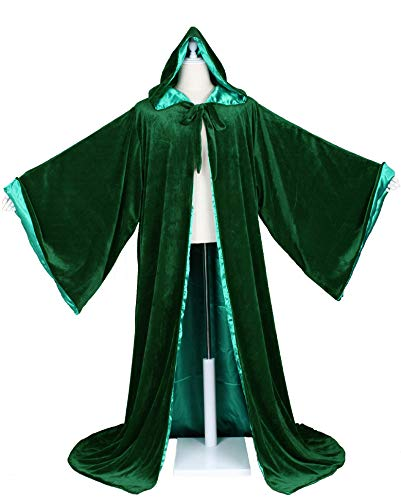 LuckyMjmy Velvet Wizard Robe with Satin Lined Hood