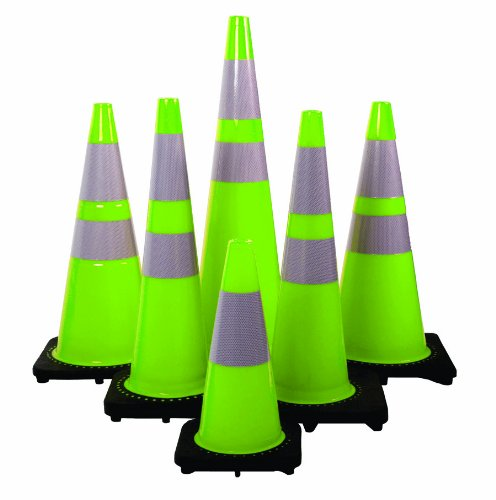 Mutual 17716 Traffic Cone with 3 lbs Reflective, 18'' Height, Lime