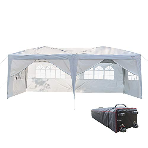 (VINGLI 10' x 20' Ez Pop Up Canopy Tent with 6 Removable Sidewalls,Folding Instant Wedding Party Commercial Event Gazebo Pavilion w/Rolling Carrying Bag)