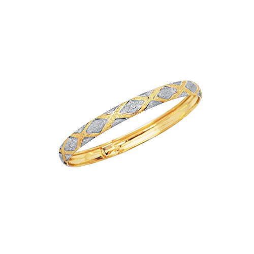 10K 8'' Yellow+White Gold 6.0mm Shiny Textured Flex Bangle with White Diamond Shape Pattern by BH 5 STAR Jewelry