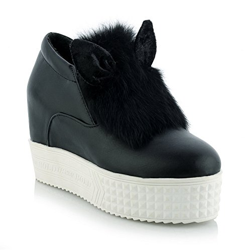 Mujer Balamasa En Tela De Punto Redondo Imitada En Cuero De Zapatos Con Bomba, Negro (negro), 38