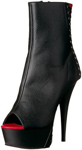 Pleaser Delight 1025 Black Patent Peep Toe Corset Lace Platform Ankle Boots
