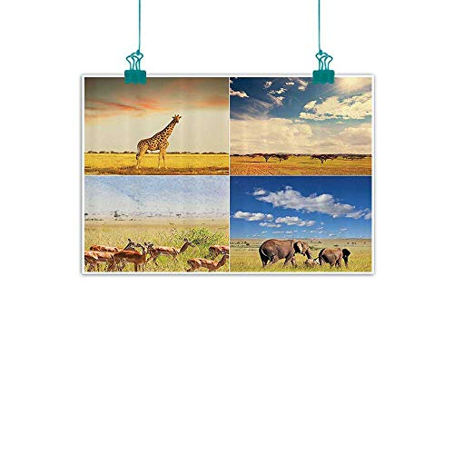 Safari Decor Collection Chinese classical oil painting African Safari Collage Lanscape with Native Animals on Grassland Savannahs Mamals Photo for Living Room Bedroom Hallway Office 35