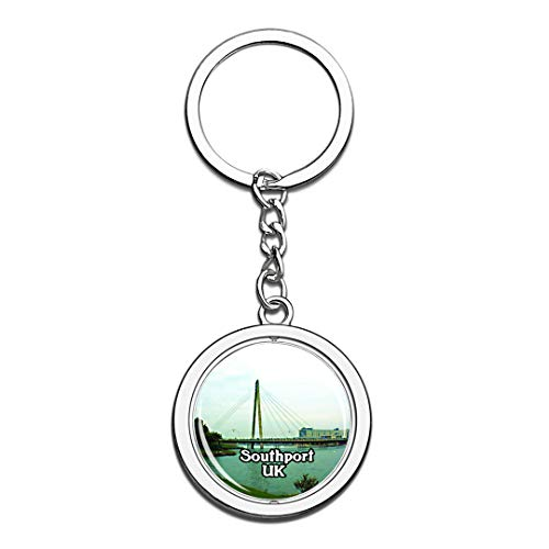Southport Pier UK England Keychain 3D Crystal Creative Spinning Round Stainless Steel Keychain Travel City Souvenir Collection Key Chain Ring -