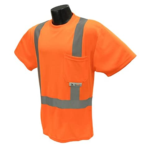 Radians ST11-2POS-4X High-Visibility Class 2 T-Shirt with Moisture Wicking Mesh, 4X-Large, Orange