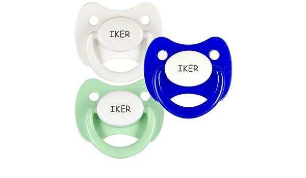 Pack 3 chupetes personalizados con el nombre de Iker: Amazon ...