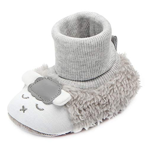 Annnowl Baby Winter Warm Boots Sock Top Slippers (6-12 Months, Grey)
