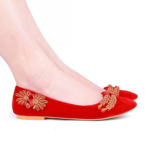 rosso nbsp;retrò Donne nbsp;di scarpe JINGXINSTORE nbsp;da nbsp;reticolo nbsp;sposa nbsp;scarpe nbsp;le nbsp;rosso nbsp;raso nbsp;con nbsp;matrimonio nbsp;scarpe Z4Zxt6