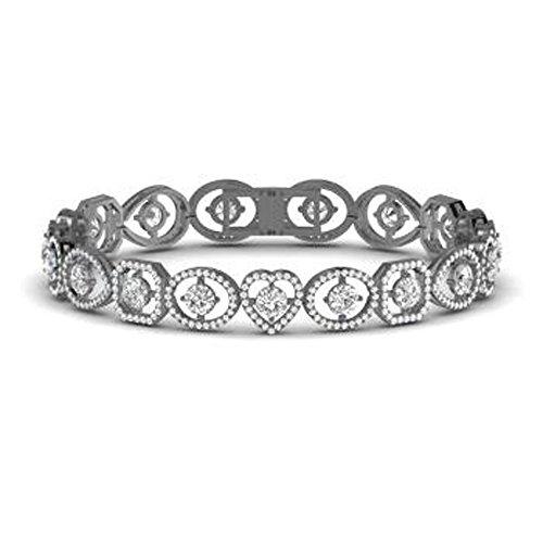 (Silvernshine Jewels Solid 14K Black Gold Fn 6.05Ct Round Cut Sim Diamond Heart Link Tennis Bracelets)