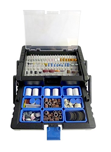 500 piece Rotary Tool Accessory Kit in Cantilever Organizer Case Set