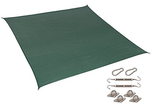 Coolaroo California Sun Shade, 10' Square Shade Sail, HDPE Fabric with 85% UV Block, Including Installation Kit, Heritage Green