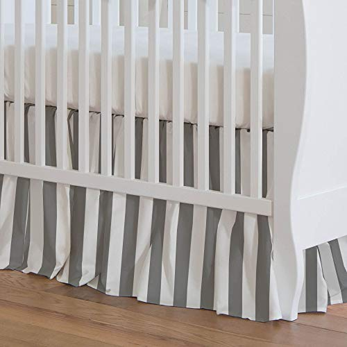 Carousel Designs White and Gray Stripe Crib Skirt 17-Inch Gathered 17-Inch Length - Organic 100% Cotton Crib Skirt - Made in The USA