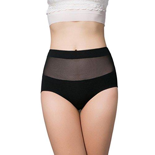 Women High Waist Cotton Panty, Witsapce Girls Comfortable Breathable Stretch Underwear Hipster-Plus Size (Black, 2XL)