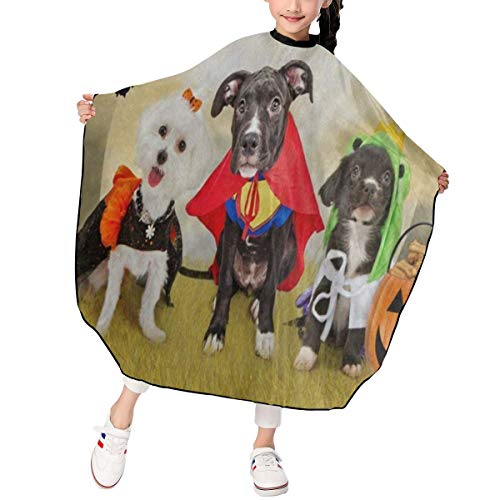 Kids Hipster Puppy Dog Dressed In Halloween Costumes Haircut Apron Funny Barber Hair Cutting Cape Waterproof For Haircut Styling Smock Cover Cloth]()