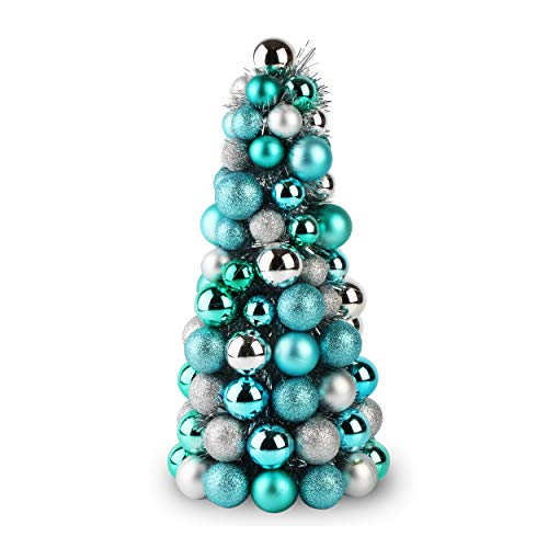 Costyleen 16 Inch Christmas Ball Tree Fireplace Table Decoration Home Party Decorative Ball Ornaments Xmas Tree Decors Blue Silver (Table Ornaments Silver)