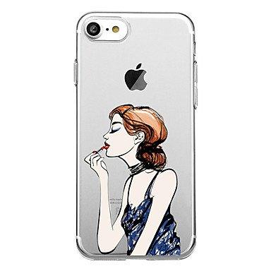 Fundas y estuches para teléfonos móviles, para el caso transparente de la cubierta del caso cubierta suave de la contraportada de la caja de la contraportada de la señora para el ( Modelos Compatibles IPhone 7 Plus