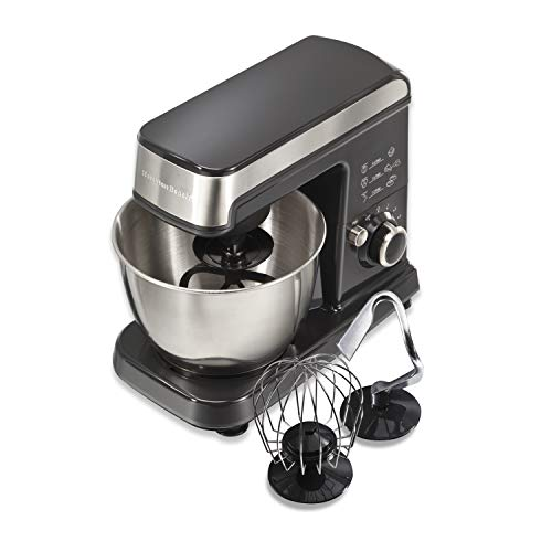 Hamilton Beach 6 Speed Electric Stand Mixer with Stainless Steel 3.5 Quart Bowl, Planetary Mixing, Tilt-Up Head 63326 , 300W Motor, Grey and Chrome