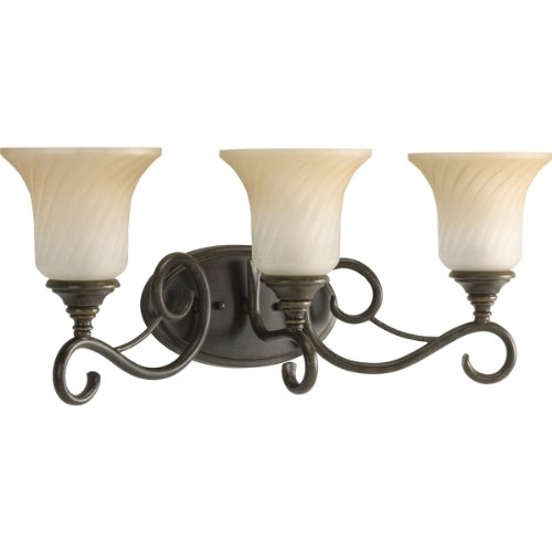 Forged Bronze Two Light Bath - Progress Lighting P2785-77 3-Light Bath Features Scrolled Metalwork with Trumpet-Shaped Textured Glass Shades, Forged Bronze