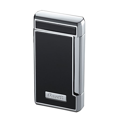 (Visol Caseti Tyros Black Lacquer Double Torch Flame Cigar Lighter)