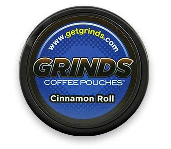 Grinds Coffee Pouches - 3 Cans - Cinnamon Roll - Tobacco Free Healthy Alternative