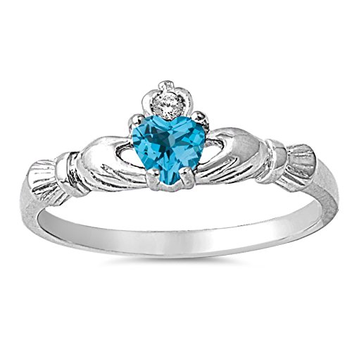 925 Sterling Silver Faceted Natural Genuine Sky Blue Topaz Claddagh Heart Promise Ring Size ()