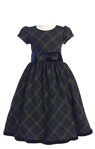 Special Occasion Holiday Christmas New Year Green Plaid Dress Girl's 10