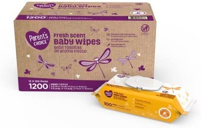 1200 count Fresh Scent Parents Choice Baby Wipes 12 packs of 100