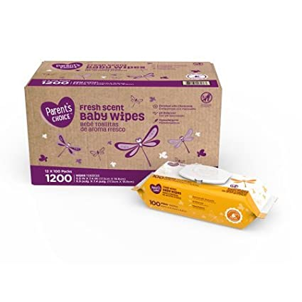 Parents Choice Fresh Scent Baby Wipes, 12 packs of 100 (1200 count)