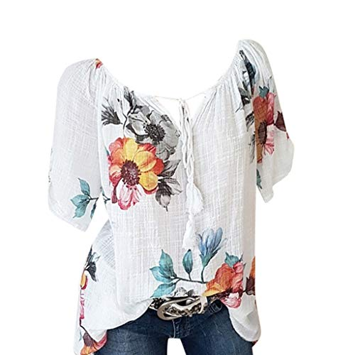 (Sunmoot Clearance Sale Plus Size Loose Tops for Women Lace Patchwork T-Shirt Casual Print Short Sleeve Blouse Tunic)