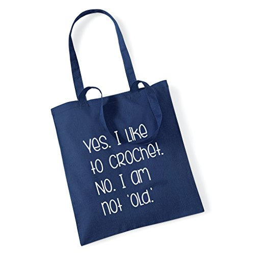 TO YES NO Blue AM I I Pretty Tote Stickers OLD LIKE Navy Bag CROCHET NOT Little q0HqXxwB
