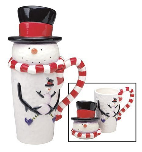 Sakura Snowman with Red Scarf Covered Latte Mug (Latte Mug Snowman)