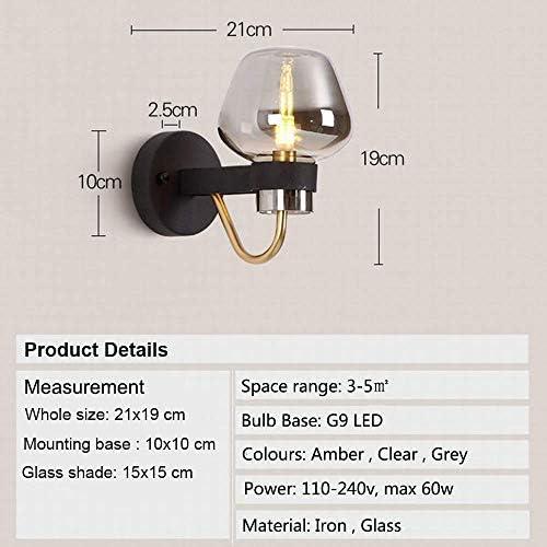 WJSW Industrielle Vintage Metallarm Wandleuchte Moderne Mode Nachttisch Korridor Glas Lampenschirm LED Wandleuchte Lampe (klar, Messing Arm)