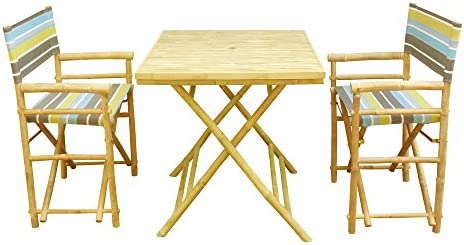 Zero Emission World Set-012-05S Set Of 1 Square Table, 2 Director Chairs – Green Stripes, Natural, 31.5X31.5X29.5 22.83X18.11X35.43
