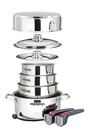 - Magma Products, A10-360L 10 Piece Gourmet Nesting Stainless Steel Cookware, Gas, Electric or Ceramic Cooktops