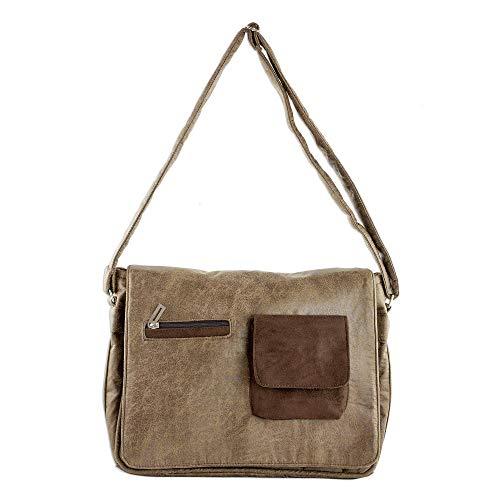 NOVICA Brown Faux Leather Messenger Bag, Preparedness in Burnt Sienna'