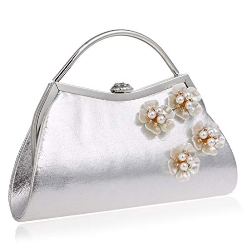 Shoulder Women Purse Bag JESSIEKERVIN Bag Clutch Handbag Evening Silver Flowers 1UYCqwa