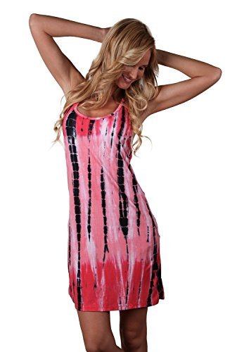 Bamboo Tie Dye - Ingear Tie Dye Racerback Dress (Large/Xlarge, Pink)