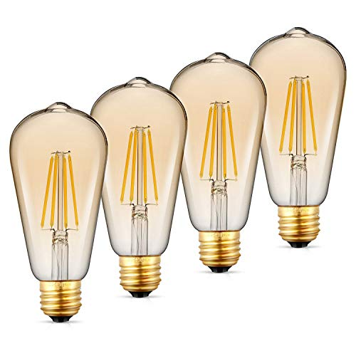 WAWUI Vintage Edison Filament Light Bulbs Dimmable Warm White LED 2200K E26 ST64 Amber Gold Glass Bulb Antique, 60 Watt Equivalent (Amber Glass, 4-Pack)
