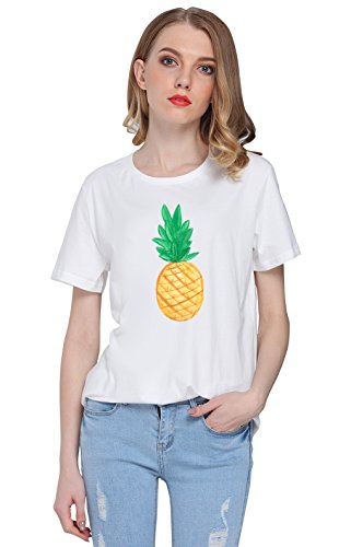 So'each Women's Cute Pineapple Fruit Graphic Tee T-shirt Tops
