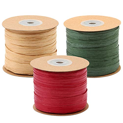 Resinta 984 Feet Raffia Twine Craft Matte Raffia Paper String Christmas Gift Packing Ribbon for Craft DIY Supply, Christmas,Wrapping Hanging Tags, 3 Rolls, Red, Green, Kraft