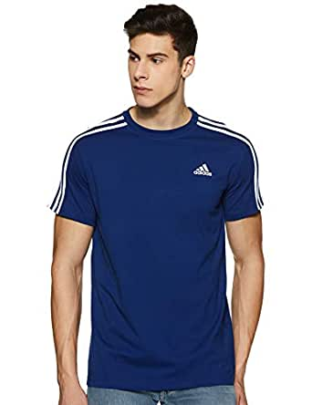 adidas Men's CZ7341 Essentials 3-Stripes T-Shirt, Mystery Ink/White, L