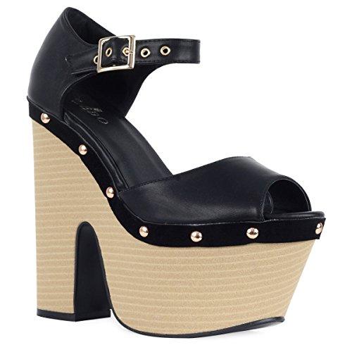 Ladies Cut Out Wedge High Heel Stud Peeptoe Platform Sandal Women Shoes Size 3-8 Black Pu