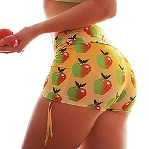 LUCAMORE Women's Summer Fruit Printed Shorts Soft Tight Fitness Beach Shorts Yellow